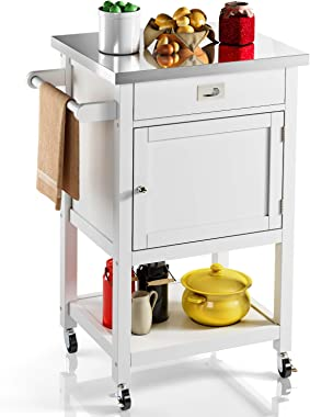 VIPEK Rolling Island Kitchen Trolley Cart with Stainless Steel Countertop Utility Microwave Cart Table with Towel Rack, Drawe