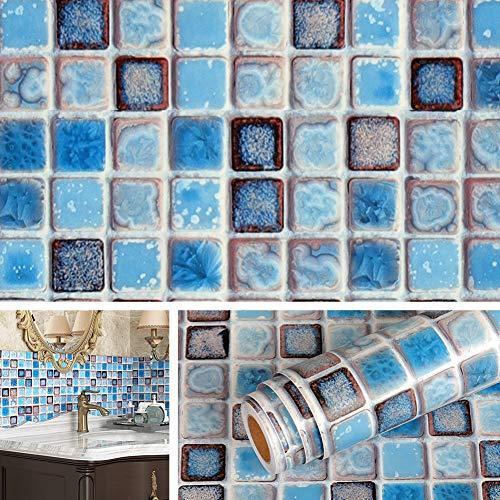 Livelynine 40CMx10M Fliesenaufkleber Bad Wasserfest Mosaikfliesen Selbstklebend Blau Fliesenfolie Badezimmer Rolle Klebefliesen Bad Boden Tapete Badezimmer Klebefolie Fliesen Optik PVC Folie Muster