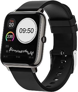 ROTTO スマートウォッチ スポーツウォッチ 腕時計 着信通知 ストップウォッチ 歩数計 遠隔撮影 タッチパネル操作 IP67防水 最長7日間連続使用可能 Android 4.4以上、iOS 9.0以上、Bluetooth 4.0対応 ブラック
