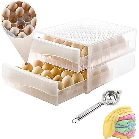Egg Holder for Refrigerator 60 Grid,Drawer Type Egg Storage Box Deviled Egg Tray Plastic Egg Fresh Storage Container Egg Organizer Case for Fridge
