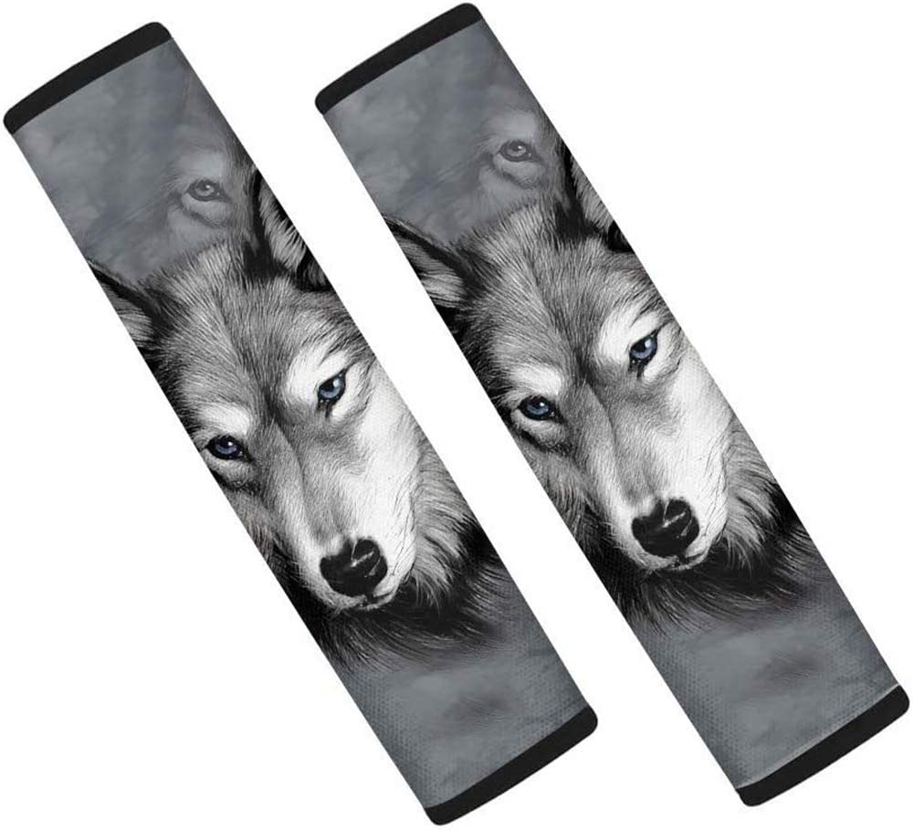 KEIAHUAN Animal Wolf Car Seat Belt Pads Covers Seatbelt Shoulder Strap Covers for Adult, 2 Pack Cute Car Accessories Gray