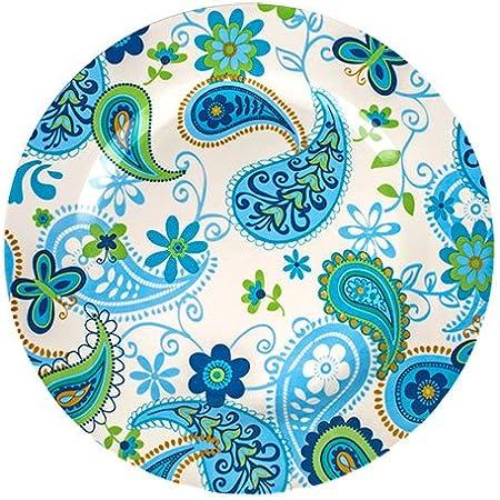 "Royal Norfolk Set of 4 Blue Green  Paisley Print 10"" Dinner Plates New"