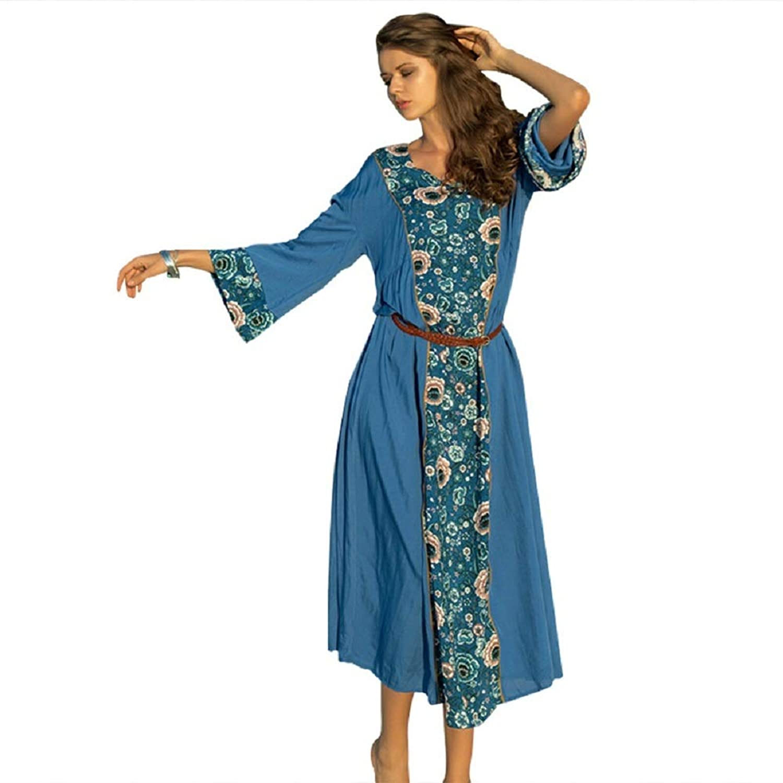 YJiaJu プリントラウンドネックビーチ緩いレジャー休暇ロングセクション長袖レーススプライスシフォンレジャー女性ドレス (Color : Blue, Size : XXL)