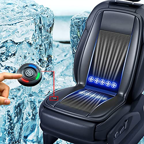 Car Cooling Seat Cover Airflow Ventilated Cushion with 10Fans & Adjustable 3 Cooling Levels, 12V Automotive Seat Cooling Pad Breathable Chair Cushions Universal Fit for Car SUV Office Chair(Black)