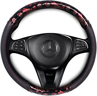 AOTOMIO Synthetic Leather Car Steering Wheel Cover Universal Fit Red Pattern Comfort Grip of 15 Inches