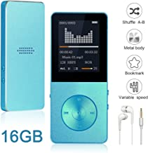 Mp3 Player, Widon 16GB Mp4 Player up to 64GB Metal Body Built-in Speaker Headphones Shuffle A-B Playback Bookmark for Audio Books - FM Radio Voice Recorder Gift for Kids Language Learning Blue3