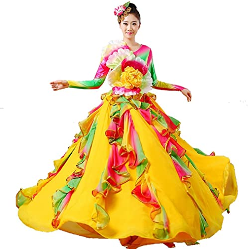 Wgwioo Adult femmes Dance Robes de Flamenco Ouvrir des Costumes Classiques Modernes Chorus Stage National Perforhommece Costume big Swing Long Skirt