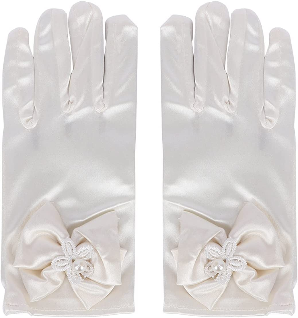 DMYONGLIAN Lace Gloves 1 Pair Lovely Elastic Girl Etiquette Performance Gloves Satin Pearl Flower Lace Bow Gloves Short Children Princess Dance Gloves Accessories (Color : Ivory)