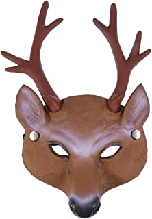Amosfun Halloween Funny Elk Mask Full Face Mask Elk Costume Mask Head Cover Mask for Halloween Cosplay Costume