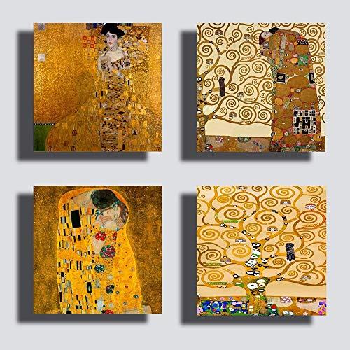 Printerland Quadri stile Klimt, 4 Pezzi, 30 x 30 cm, Albero della Vita Abbraccio, Oro, Stampa Tela Canvas Arredamento Arte XXL, Arredo per Soggiorno Salotto Camera da Letto Cucina Ufficio Bar