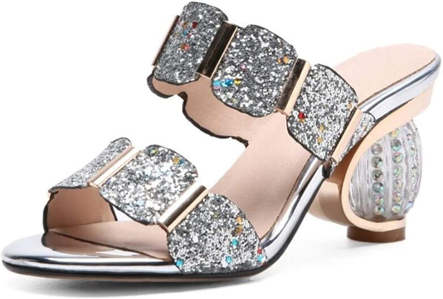 IWlxz Women's Microfiber Summer Sweet Minimalism Sandals Chunky Heel Open Toe Sequin Sparkling Glitter gold Black Silver
