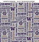 University of Washington Huskies Fleece Blanket Fabric with Verbiage on Heather Ground-Sold by The YardVerbiage Heather Fleece Fabric-Fleece Blanket Fabric