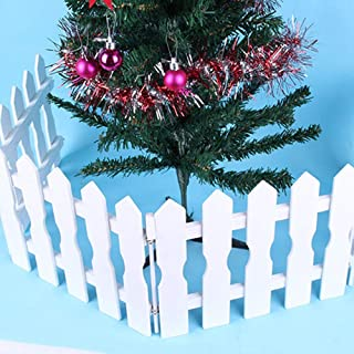 Christmas Picket Fence Christmas Tree Decor Wall Border Picket Fence Safety Pet Gate Baby Gate Fence BBQ Hearth Gate Installation-Free (White)