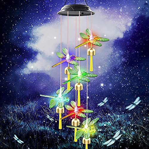 Greenke Solar Wind Chimes Outdoor, Multi-Color Changing Waterproof Dragonfly Wind Chimes for Outside Garden Patio Backyard Decor, Birthday Gardening Gifts for Mom Grandma Women Friends