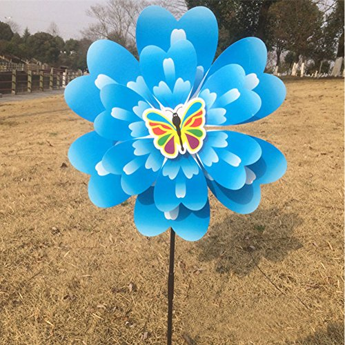Butterfly Peony Flower Colourful Wind Spinner Windmill Home Garden Decor New
