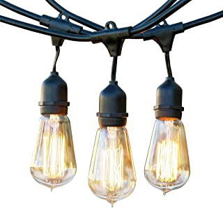 Brightech Ambience Pro - Waterproof Incandescent Outdoor String Lights - Hanging Vintage Edison Filament Bulbs - 48 Ft Industrial Lights Create Ambience On Your Deck, Balcony (Renewed)