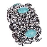 Yazilind cru Tibetain Argent Turquoise Inlay Oval gothiques femmes bracelet large