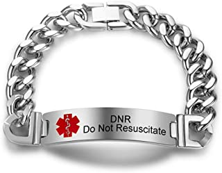 Murinsar Personalized Name ICE Number Engraved Stainless Steel Medical Alert ID Bracelet Awareness Med Bangle for Outdoor Indoor Emergencies,Life Save for Dad,Mom,Son,Daughter,8.46''