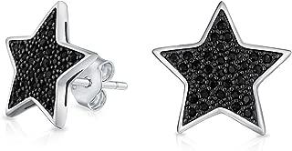 Simple Patriotic Star Cubic Zirconia Micropave CZ Stud Earrings