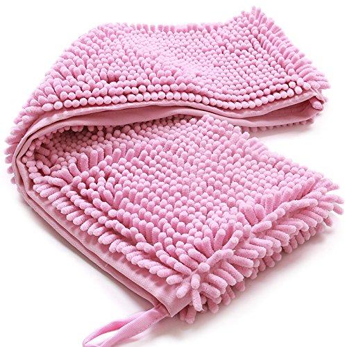 DavidLee sneldrogende badhanddoek voor huisdieren Ultra absorberende microvezel Chenille sneldrogende handdoek met sterke absorptie, XL, roze