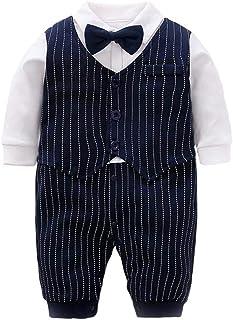 daimengmeng Baby Jungen Gentleman Strampler Jumpsuits Säuglinge Baumwolle Langarm Formelle Outfits Einteiler Navy Streifen 0-3 Monate/59