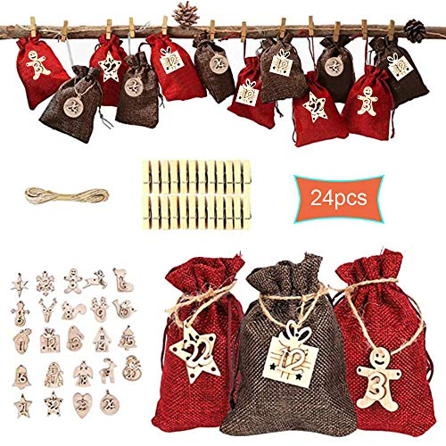 Christmas Advent Calendar 2020-24 Days Xmas DIY Countdown Burlap Candy Gift Bags for Adults and Kids Christms Toys Home Decorations