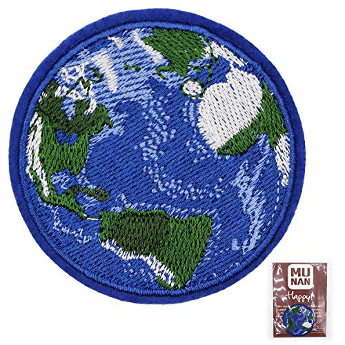 MUNAN Blue Earth World Planet Patch Embroidered Applique Badge Iron On Sew On Emblem