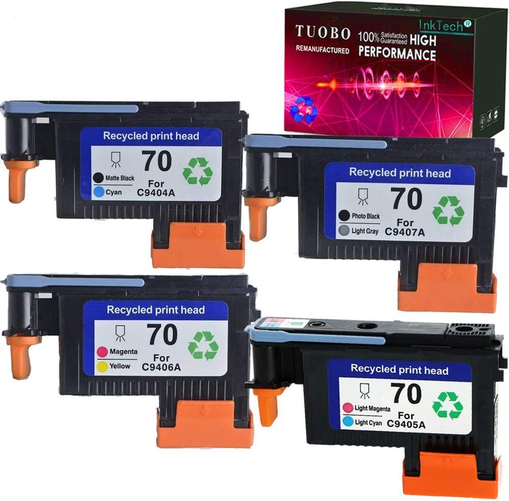 Tuobo Remanufactured 70 Print Head for 70 C9404A C9405A C9406A C9407A Compatible with Designjet Z2100 Z5200 Z3200 Z3100 Z5400 Printer (1 Set 70 Printhead)