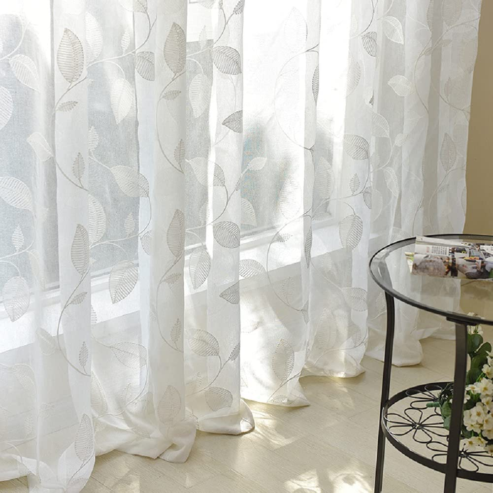 Sheer It is very popular Voile Curtains Luxury Exquisite Rod Leaf Embroidered Style Direct store