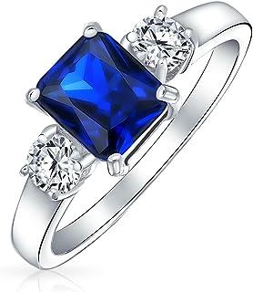 Bling Jewelry 贝灵珠宝 925纯银 玉石切割锆石 仿蓝宝石 3颗宝石 订婚戒指