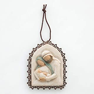 Best Willow Tree Holy Family Metal-Edged Ornament, Sculpted Hand-Painted bas Relief Review