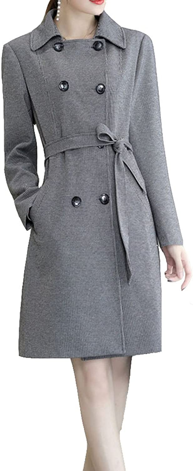 YueLian Women's Winter Long Sleeve Breasted Belted Lapel Lady Trench Coat
