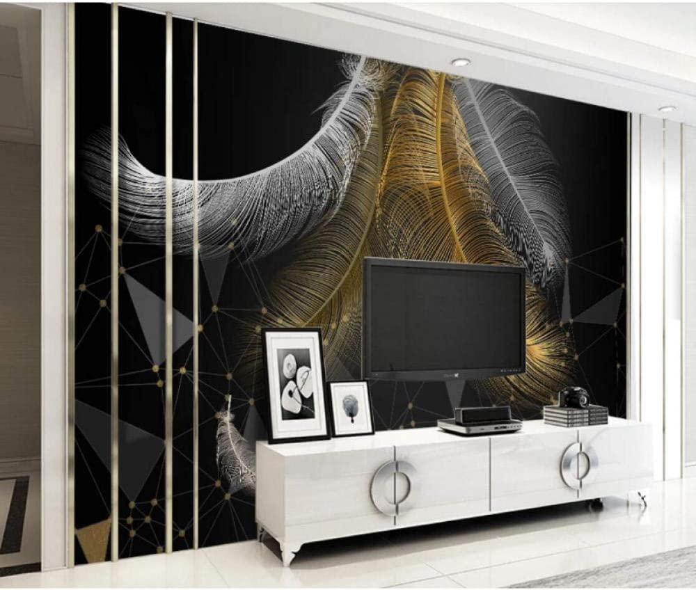 New sales European Geometric Industry No. 1 Dark Feather Background Black with Wallpaper