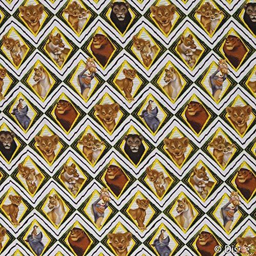 Jersey Stoff König der Löwen Rauten Nala Simba gelb weiß 0,50m x VB