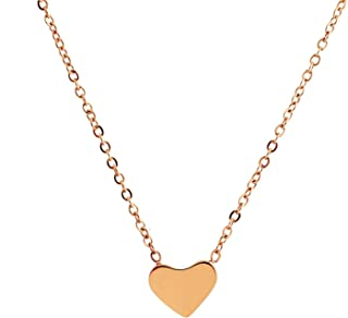 Lureme® Minimal Retro Style Stainless Steel Simple Heart Pendant Necklace(01003214)