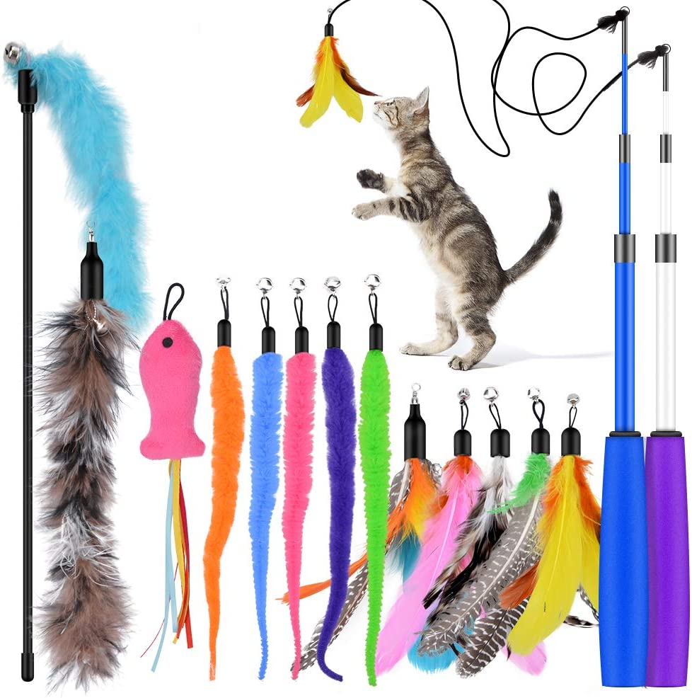 Oziral Cat Teaser 15PCS Feather Manufacturer SALENEW very popular! OFFicial shop Toy Retractable