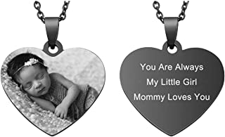 Free Engraving Custom Photo & Text Heart Pendant Necklace Customized Picture Necklace for Women Girls Birthday Anniversary Gift