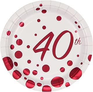 Creative Converting 317855 8 Count 40th Anniversary Paper Dessert Plates, 7