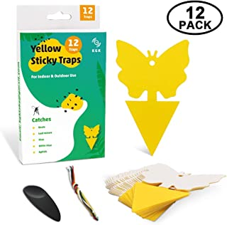 KGK Sticky Trap, 12 Pack Fruit Fly Dual-Sided Yellow Sticky Bug Traps for Indoor/Outdoor Use - Insect Catcher for White Flies, Mosquitos, Fungus Gnats, Flying Insects