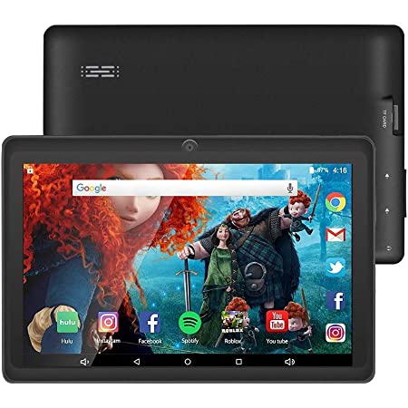 7 inch Tablet Google Android 10.0 Quad Core 1024x600 Dual Camera Wi-Fi Bluetooth 16GB Play Store Netflix Skype 3D Game Supported GMS Certified (Black)