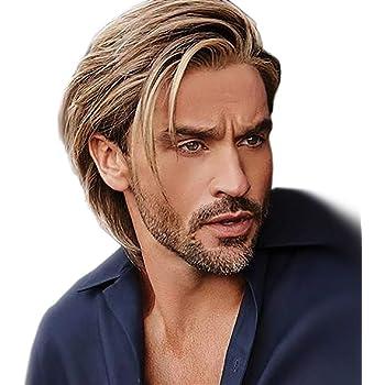 STfantasy Corto Riccio Nero Parrucche da uomo Tessitura a strati Sintetico Capelli per uomo Guy Boy Costume Cosplay anime