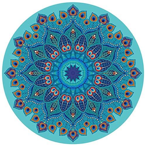 hsj LF- Esterilla de yoga redonda de goma natural para mujer, antideslizante, para el hogar, danza, fitness, meditación, yoga, meditación, antideslizante, color