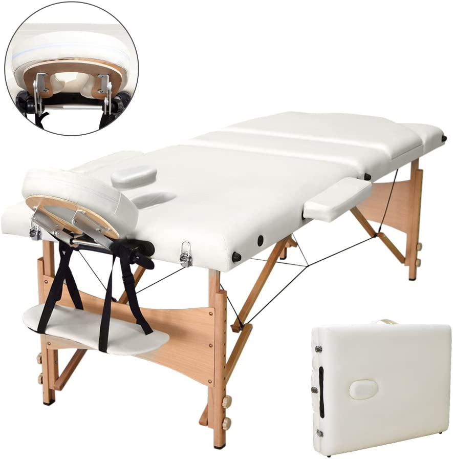 Vesgantti Portable Massage Bed Table – 3-Section Foldable Beauty Couch for Reiki Therapy Treatment Salon Healing – Metal Headrest Support/Carry Bag…