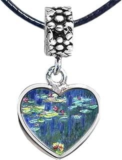 Silver Plated Monet Water Lilies Photo Flower Head Dangle Heart Bead Charm Bracelets