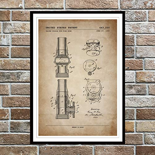 Vintage Fire Hose Nozzle Poster; Patent Poster, Unframed, Wall Art; Firefighter Decor, Gifts Under $15