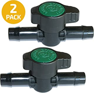 2-Pack in-Line Barbed Ball Valve 13mm for 1/2 Inch Tubing .520 ID - Regulate and Shut-Off/On Water Flow