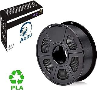 Aoou PLA Filament, Premium 3D Printer Filament, Dimensional Accuracy 1.75mm +/- 0.02mm, 1 KG (2.2 lb) Spool,Black