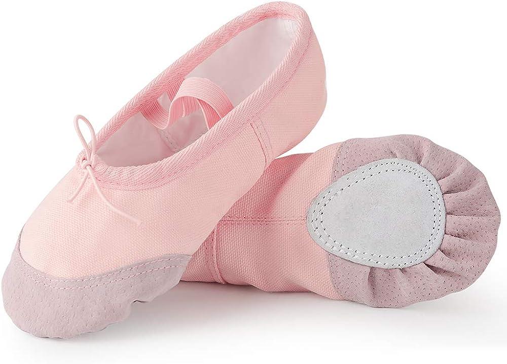 Soudittur Zapatillas de Ballet Suela Partida de Cuero Calzado de Danza para Niña y Mujer Adultos Tallas 21-44