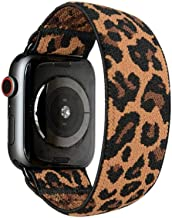 Tefeca Dark Cheetah/Leopard Pattern Elastic Compatible/Replacement Band for Apple Watch 38mm 40mm 42mm 44mm (Black Adapter for 38mm/40mm Apple Watch, Wrist Size : 6.0-6.4 inch (L2))