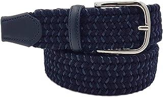 ESPERANTO Cintura uomo donna artigianale elastica intrecciata 3,5 cm lino,canapa lana cuoio